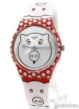 New Swatch Originals PETIT COCHON White 3 Little Pigs Theme Watch 34mm GR169 $65