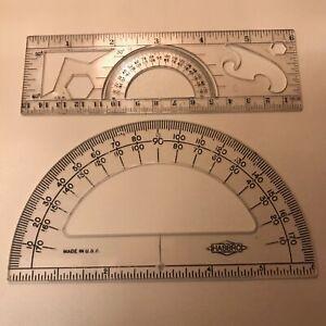 Vtg Lot 2 Protractor French Curve Multi-Tool Compass Hasbro USA Drafting Hexagon