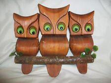 Vintage Mid Century Owl Art Hand Carved Wood Retro Wall Hanging 3 Owls Triple