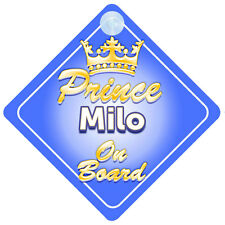 Crown Prince Milo On Board Personalised Baby Boy Car Sign