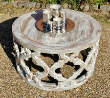 2ft 6in Round  Mahogany Coffee Table Hand Carved In Shabby Chic Style New