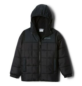 Columbia Boys Puffect 2 Insulated Hooded Puffer Jacket, Black, Youth XL