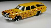 1970 Chevelle SS Wagon 1/64 Scale Diecast Diorama Rare Car Yellow Flames
