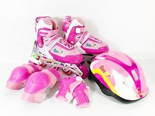 Inline Roller Skate w/ Light Up Wheels Helmet Pads Adjustable Kids Size 4-6 Pink