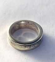 Authentic Tiffany & Co. Sterling Silver Concave 1837 Band Ring Size 6.0