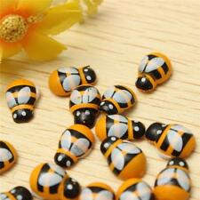 50pcs Wood Button Crafts Wooden Bumble Bee Stickers Decorate 10*13MM