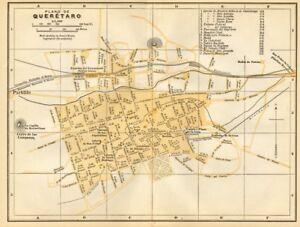 Plano de SANTIAGO DE QUERETARO, Mexico. Mapa de la ciudad. City/town plan 1935