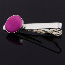 Men's Plain Satin Inlay Evening Wedding Groom Work Silver Plated Tie Clip