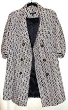 Plastic Island Size 2-4  Purple Gray White Double Breasted Lightweight Jacket