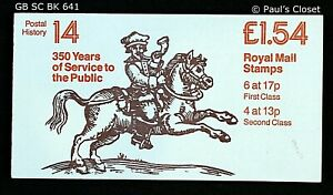 GB ROYAL MAIL STAMPS £1.54 FOLDED BOOKLET 350YRS Mail SERV BK641 6-1st 4-2nd MNH