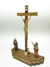 Crucifixion Scene - Woodcarvings of Christ, John, Mary - Beautiful Passion Crib