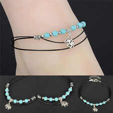 Turquoise Elephant Rope Multi-Layer Handmade Leather Anklet Chain Bracelet YN