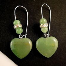 Natural Green Aventurine Gemstone Heart Dangle Earrings & Gemstone Beads #1404