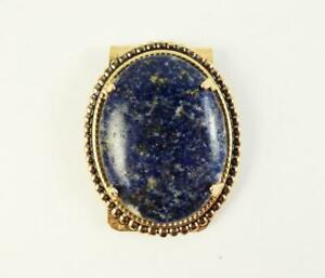 Natural Lapis Lazuli Money Clip Gold Plated Beaded Satin 40x30 MM Stone