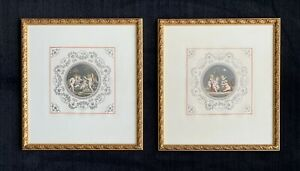 Francesco Bartolozzi after Cipriani hand-colored engravings ~ putti, cherubs