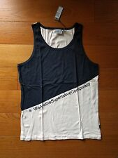uomo WESC men's singlet navy canotta bianco blu M tank t-shirt