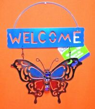 Welcome Butterfly Hanging Metal Sign With Glass Bead Middle