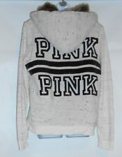 Victoria's Secret Pink Bling Sequin Faux Fur Lined Hoodie White Large (L) NWT