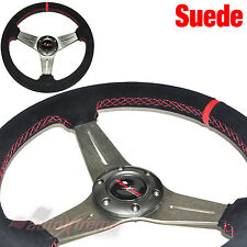 Flat Dish SUEDE LEATHER 6 Bolt 3 Spoke Racing Steering Wheel RED Stitch TITANIUM