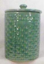 Weller Pottery Canister Pierre Green Basketweave Vintage 1930s Nice Condition