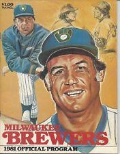1981 Baseball Program Milwaukee Brewers v California Angels unscored