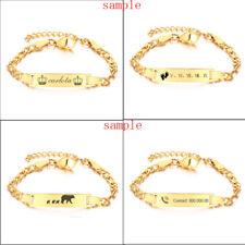 Personalized Bracelet Kid Child Newborn Baby Toddler ID Name Logo Bar Engraving