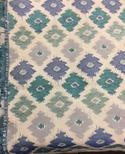 blue teal Chenille pattern fabric by the yard drapery pillows upholstery