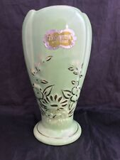 Vintage KENSINGTON ARTWARE Green Lustre Earthenware vase with label