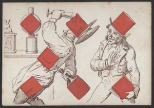 Playing Cards 1 Single Old Antique L'HACHETTE Transformation Card - DRUNK MEN