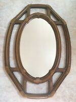 """Large BURWOOD Wall Mirror BROWN WICKER WOOD Home Interiors Homco 29""""x19 5/8 2432"""
