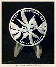 Mirrored Surface 1 oz .999 Silver Indica Liberty Leaf proof-like round