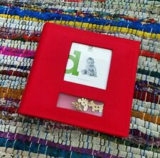 Baby Boy / Girl red fabric photo album w timber figurines - holds 100 pics CUTE