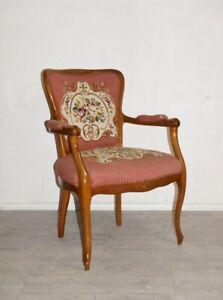 Zauberhafter Chippendale Armlehnstuhl Damensessel Kaminsessel Bezug Rosa+Blumen