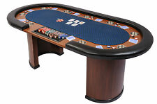 Riverboat Dealer Poker Table with Arc Legs in Blue Speed Cloth and Armrest 213cm