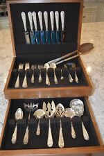 Stieff Corsage Silver 8 Five Piece Settings + 9 Serving Pieces, 57 Pieces Total