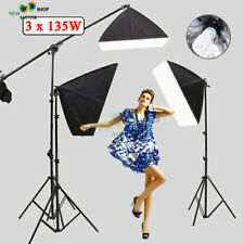 Photo 2025W Softbox Continuous Lighting Kit Studio Soft box Boom Arm Stand UK