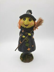 Halloween Faux Paper Mache Witch with Broom Figurine