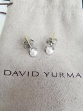 David Yurman 925 Silver 9.5 mm Pearl Diamond 14k Cable Stud Earrings DY Pouch