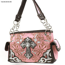 W87 PEACH CROSS WESTERN RHINESTONE  PURSE CONCEALED CARRY HANDBAG COWGIRL