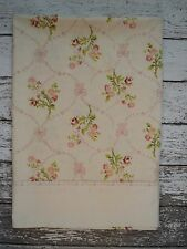 Vintage SPRINGMAID Floral & Ribbon Ivory Pink Green Flat Sheet Twin Size Shabby