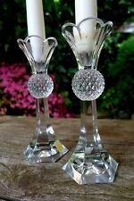 Vintage Pair of Germany Crystal Cut Glass Candlestick Home Cottage Art Collector