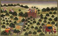 Mughal Emperor Shooting The Tiger Miniature Historical Handmade Art Painting
