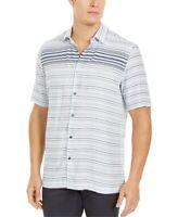 Alfani Mens Shirt Black White Blue Size Large L Button Down Striped $55- #173