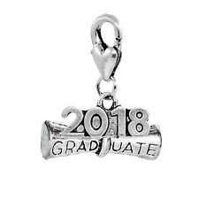 2018 Graduate Diploma Graduation Year Gift Lobster Claw Clip Charm for Bracelets