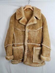 Vintage Texas Tanning Brown Sheepskin & Shearling Lined Coat Men's Size 42