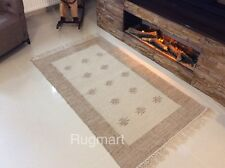 Cream Beige Handmade Natural Cotton Jute Reversible Washable Rug 120x180cm 40 of