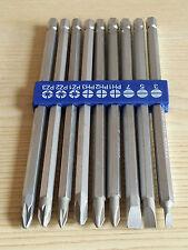 9 Piezas Largo Alcance pedacito de destornillador Set 1/4 Vástago Hexagonal Pz1 PZ2 Pz3 Ph1 Ph2 Ph3