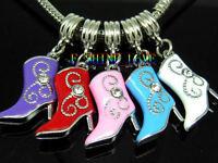 Cowboy boot dangle charm bead fits European style charm bracelets