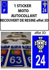 1 sticker plaque immatriculation MOTO TUNING 3D RESINE  FPF PORTUGAL DEPA 24