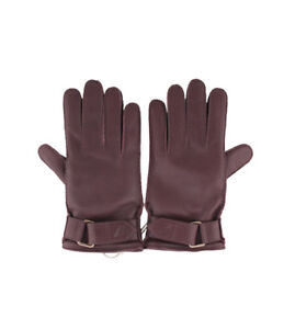 Brioni Men's Leather Gloves in Cherry color Cashmere Lining, size 7, 7.5